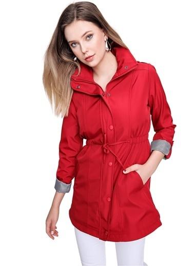Butikburuç Kadın Lila Kolları Katlama Apoletli Trençkot Kırmızı